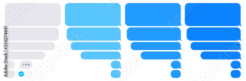 Editable phone chat with text bubbles set - Isolated sms dialogue and message bu Fotobehang