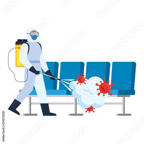 Obraz Man with protective suit spraying airport chairs with covid 19 virus design, Disinfects clean and antibacterial theme Vector illustration - fototapety do salonu
