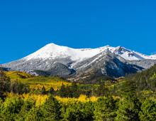 Snow Covered Mountains Above Fall Foliage