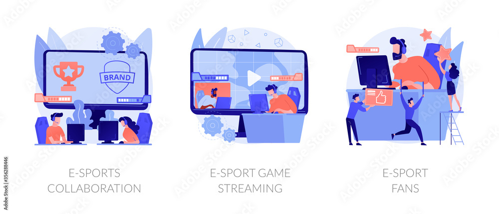 Fototapeta Electronic sports organization, internet team play, online competition. E-sports collaboration, e-sport game streaming, e-sport fans metaphors. Vector isolated concept metaphor illustrations.