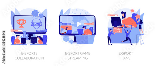 Fototapeta Electronic sports organization, internet team play, online competition. E-sports collaboration, e-sport game streaming, e-sport fans metaphors. Vector isolated concept metaphor illustrations. obraz