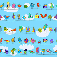 Cartoon Colorful Flock Of Funn...