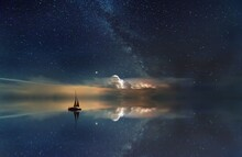 Beautiful Shot Of A Boat Saili...