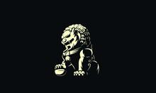 Chinese Lion Statue Logo Illustration