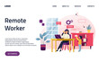 Freelancer woman with child working on laptop. Parent working with son. Home office. Difficulty of remote work. Remote worker, employee schedule. Website homepage landing web page template.
