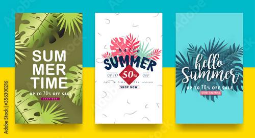 Fototapeta Summer sale background layout banners.voucher discount.Vector illustration template. obraz