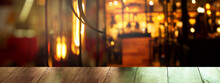 Top Of Wood Table With Blur Ba...