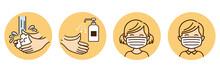 Washing Hands Mask Illustration Vector