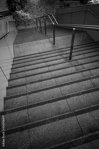 Fototapeta Black and white photo of a staircase obraz na płótnie