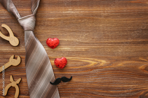 Fototapeta Father's day concept over wooden background. top view, flat lay obraz