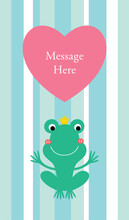 Cute Prince Frog Valentine Message Card Vector