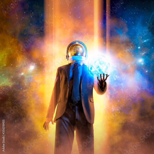 Leinwand Poster Night of the magician / 3D illustration of suited male figure with astronaut hel