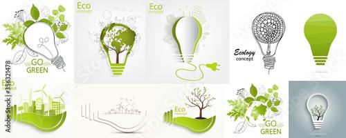 Fototapeta Light bulb idea. Environmentally friendly world. obraz