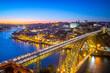 canvas print picture - cityscape of porto in portugal with luiz I bridge