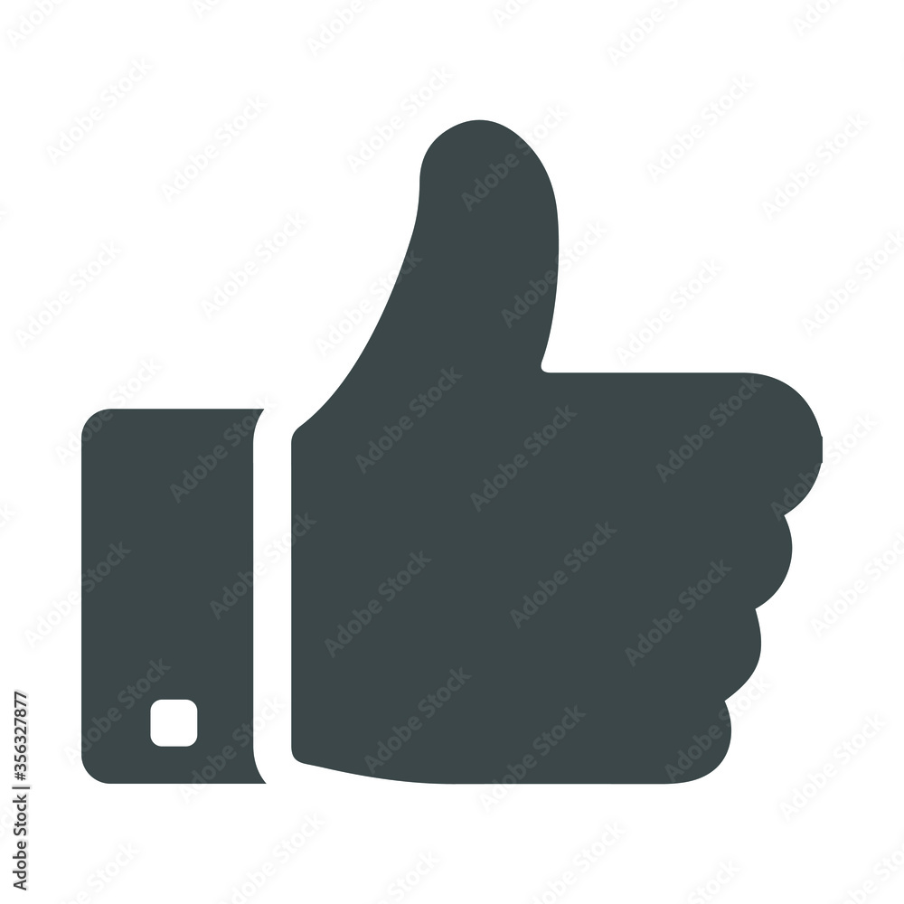 Fototapeta Approved or thumbs up, like gray icon