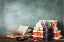 School Books On Desk, Educatio...