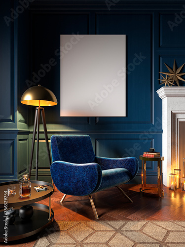 Fototapeta Classic blue interior with armchair, wall panel and decor. 3d render illustration mock up. obraz