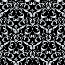 Seamless Baroque Pattern With Silver Scrolls On Black Background