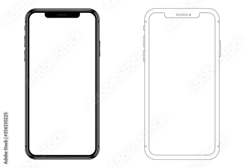 Realistic new phone and wireframe. Vector graphic. Fototapete