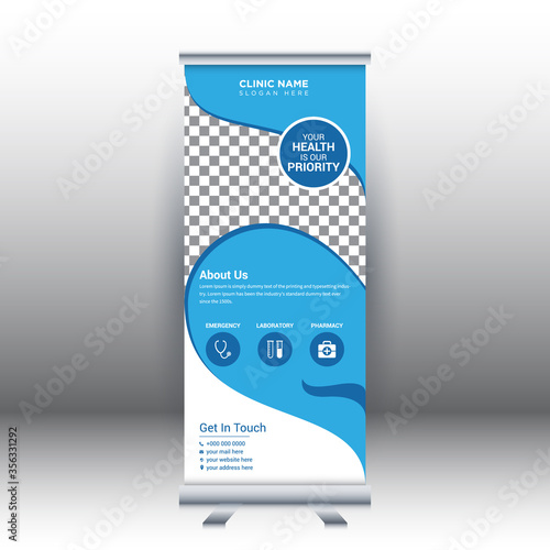 Fotografie, Obraz Creative abstract modern medical roll up banner design template vector illustration concept