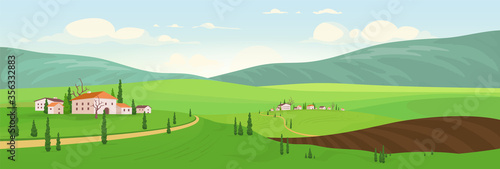 Planting season in hilltop villages flat color vector illustration