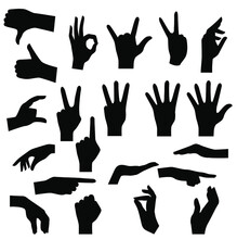 Black Silhouettes Of Hands On ...