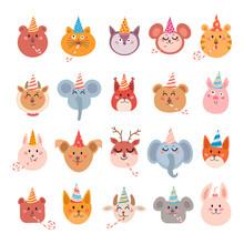 Set Of Cartoon Animals For Bab...