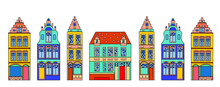 Set Of European Colorful Old H...