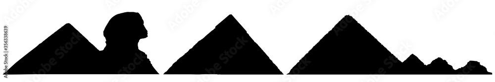 Fototapeta Silhouettes of pyramids and Sphinx, set of landmarks of Egypt. Vector illustration.