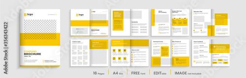 Fototapeta Professional brochure template layout design, yellow shapes, business profile template design, 16 pages, annual report,minimal, editable businss brochure. obraz