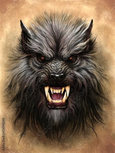 Obraz na płótnie Werewolf on the stone background