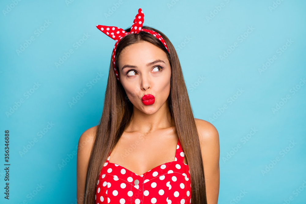 Fototapeta Close-up portrait of her she nice-looking attractive naughty lovable dreamy glamorous straight-haired girl sending air kiss flirting isolated over bright vivid shine vibrant blue color background