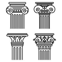 Greek Pillar Vector Set Isolat...