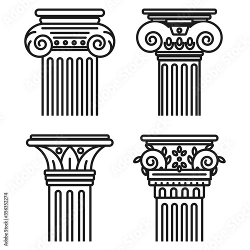 Greek pillar vector set isolated on a white background. Wallpaper Mural