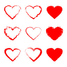 Red Scribble Hearts Vector Set Isolated On A White Background.