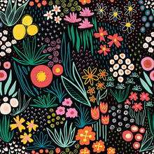 Flower Field Bright Colors On Black Seamless Vector Pattern. Repeating Liberty Doodle Flower Meadow Background. Repeating Scandinavian Style Line Art Florals. For Fabric, Wallpaper, Summer Decor
