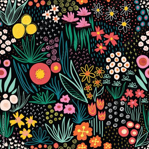 Tapety Boho   jasne-kolory-pola-kwiatow-na-czarny-bezszwowe-wektor-wzor-powtarzajac-wolnosci-doodle-kwiat-laka-tlo-powtarzajace-sie-w-stylu-skandynawskim-kwiaty-sztuki-linii-do-tkanin-tapet-letnich-dekoracji