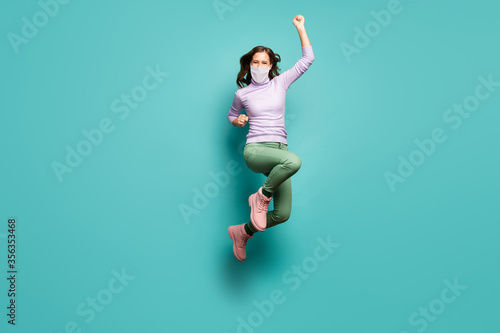 Full length body size view of her she slim lucky girl wearing safety gauze mask Tableau sur Toile
