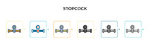 Stopcock Vector Icon In 6 Different Modern Styles. Black, Two Colored Stopcock Icons Designed In Filled, Outline, Line And Stroke Style. Vector Illustration Can Be Used For Web, Mobile, Ui