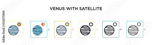 Foto Venus with satellite vector icon in 6 different modern styles