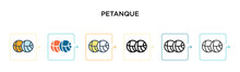 Petanque Vector Icon In 6 Different Modern Styles. Black, Two Colored Petanque Icons Designed In Filled, Outline, Line And Stroke Style. Vector Illustration Can Be Used For Web, Mobile, Ui