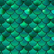 Seamless Pattern Of Green Fish...