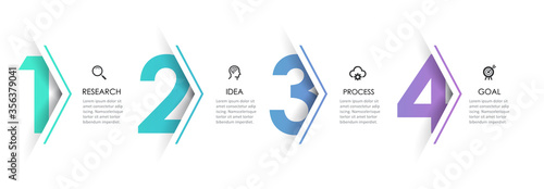 Obraz Vector Infographic arrow design with 4 options or steps. Infographics for business concept. Can be used for presentations banner, workflow layout, process diagram, flow chart, info graph - fototapety do salonu