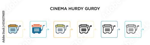 Cinema hurdy gurdy vector icon in 6 different modern styles Billede på lærred