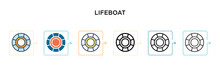 Lifeboat Vector Icon In 6 Diff...