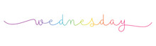 WEDNESDAY Rainbow Gradient Vector Monoline Calligraphy Banner With Swashes