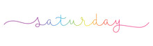 SATURDAY Rainbow Gradient Vector Monoline Calligraphy Banner With Swashes