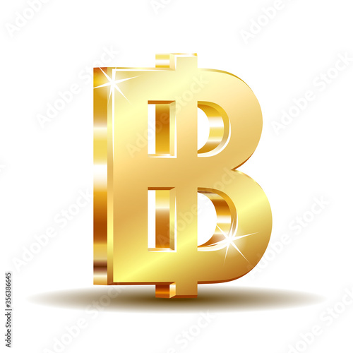 Fotografia, Obraz Thai baht golden currency symbol, money sign vector illustration