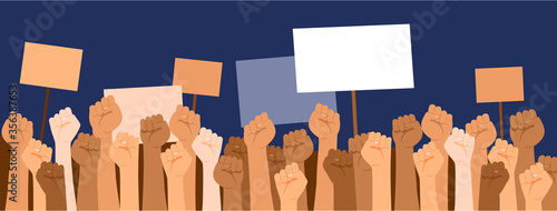 Obraz na plátně Protesters hands holdingbanners with copyspace