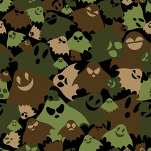 Green, Black And Brown Ghosts Fly In Chaotic Order, Army Seamless Vector Texture